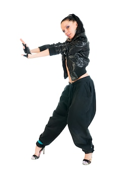 白い背景の上のクールなアクティブな女性のヒップホップダンサー