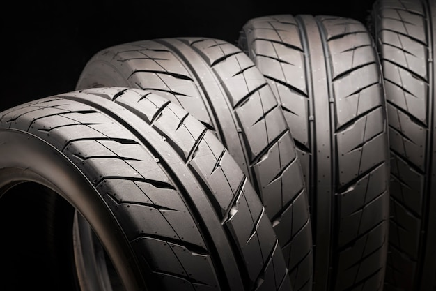 Cool and beautiful summer tires for racing and drifting on a black background