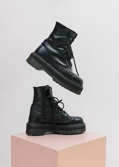 Cool black combat boots mockup