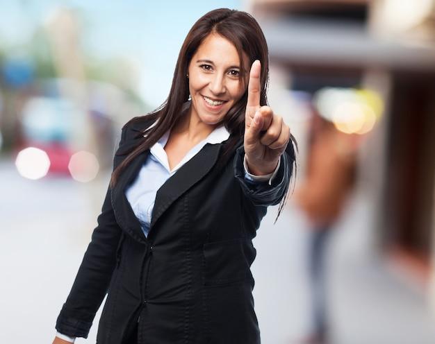 Fresco donna d'affari un gesto