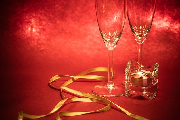 Cool champagne and glass prepare for celebration