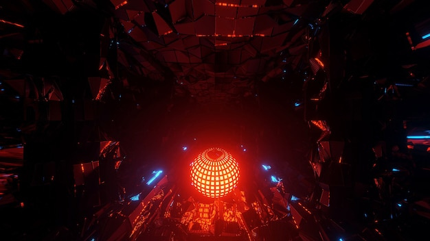 Cool futuristic illustration with a bright disco ball at the center