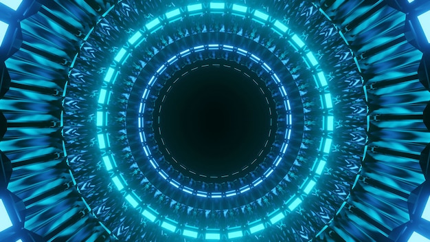 Cool futuristic illustration with lit blue circles on a black background
