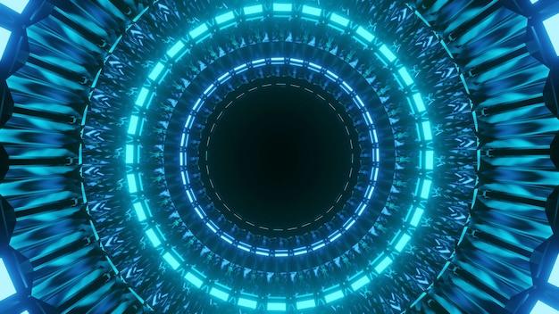 Fantastica illustrazione futuristica con cerchi blu accesi su sfondo nero