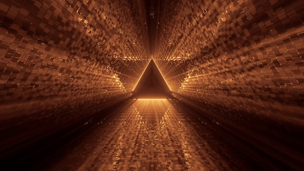 Fantastico futuristico con un triangolo d'oro lucido al centro