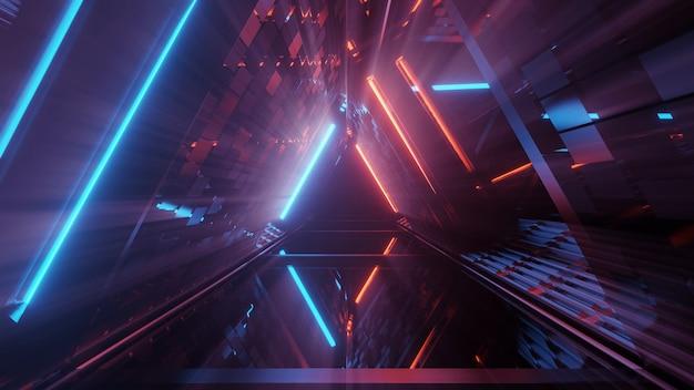 네온 레이저 조명의 멋진 기하학적 삼각형 그림-배경에 적합