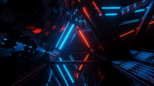 네온 레이저 조명의 멋진 기하학적 삼각형 그림-배경 및 배경 화면에 적합