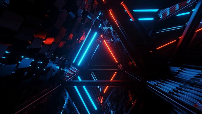 ネオンレーザー光でクールな幾何学的三角形の図形-背景や壁紙に最適