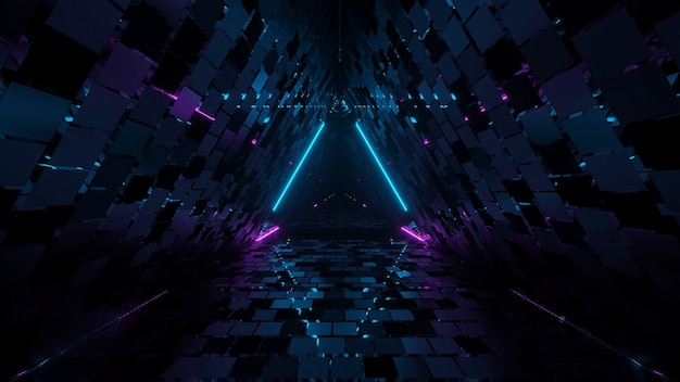 Cool geometric triangular hallway 3d rendering