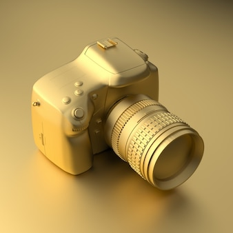 Cool gold professional camera on gold in minimal style