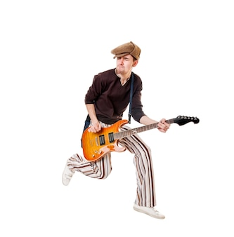Cool guitarist on white