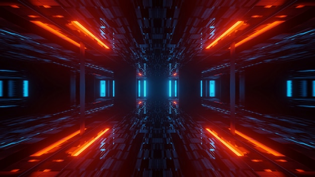Классная иллюстрация с геометрическими фигурами и неоновыми лазерными огнями - идеально подходит для обоев