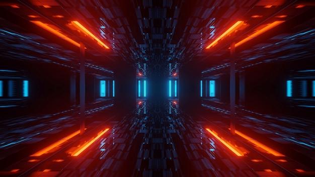 Fantastica illustrazione con forme geometriche e luci laser al neon: perfetta per gli sfondi