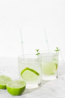 Cool lime cocktails in glasses
