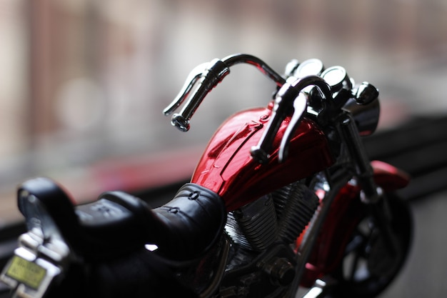 Cool red toy bike macro photography