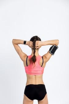 Cool sporty woman. back view