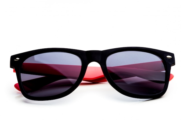 Cool sunglasses isolated. in black plastic frame