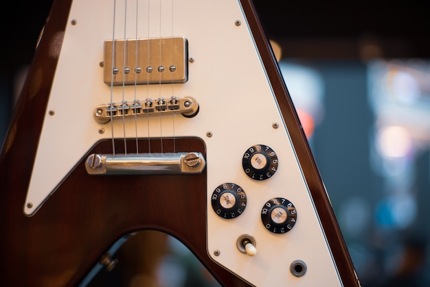 Cool vintage retro guitar style close up
