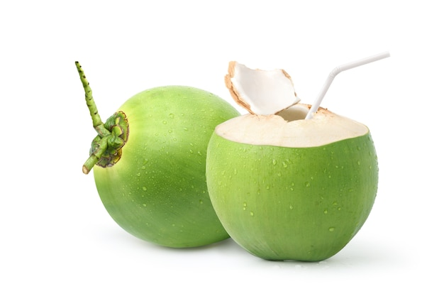 Cool  young coconut juice with water droplets isolated on white background.