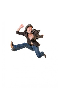 Cool young man jumping