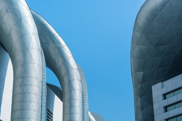 Cooling pipes with sky background