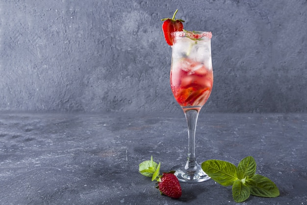 Cooling strawberry sangria with wine, strawberry,