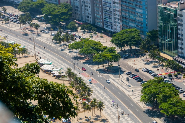 Copacabana beach boardwalk in rio de janeiro brazil.