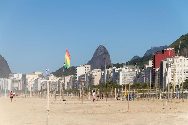 Copacabana beach in rio de janeiro, brazil - april 23, 2021: dawn on copacabana beach in rio de janeiro.