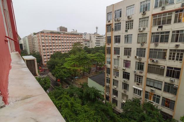 Copacabana neighborhood in rio de janeiro, brazil - september 16, 2021: copacabana neighborhood on a rainy day.