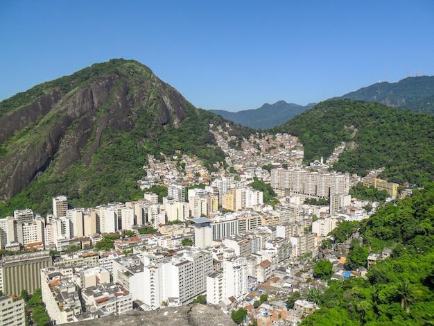 Copacabana neighborhood view from the top of the peak of the agulhinha inhanga