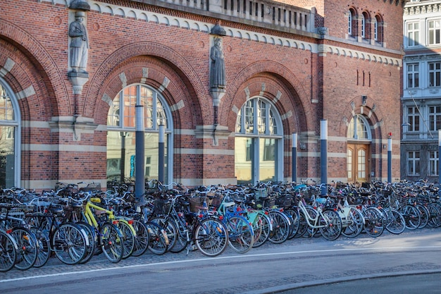 Copenhagen, denmark - april 30, 2017: bicycle parking lot with bicycles at the central railway station