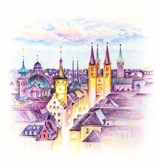 アルテメインブリュッケ、ヴュルツブルクの旧市街、フランコニア、北バイエルン、ドイツの鉛筆スケッチ