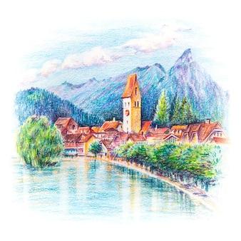 スイス、ウンターセンインターラーケンの旧市街にある教会と川の鉛筆スケッチ