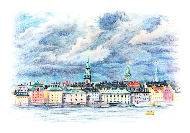 Riddarholmen, gamla stan, old town of stockholm, sweden의 coplored 연필 스케치