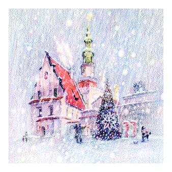 포즈 난, 폴란드에서 눈 덮인 크리스마스 오래 된 시장 광장의 coplored 연필 스케치