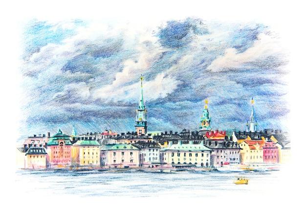 Coplored pencils sketch of riddarholmen, gamla stan, old town of stockholm, sweden