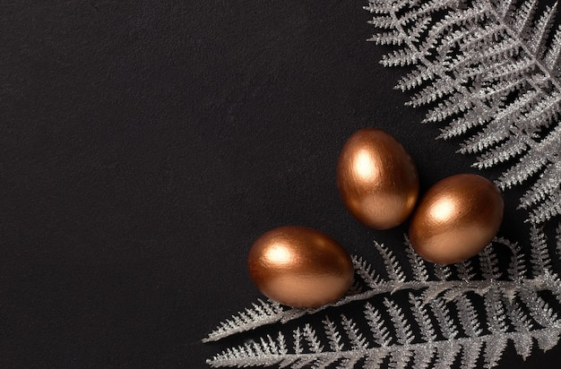 Copper-colored easter eggs