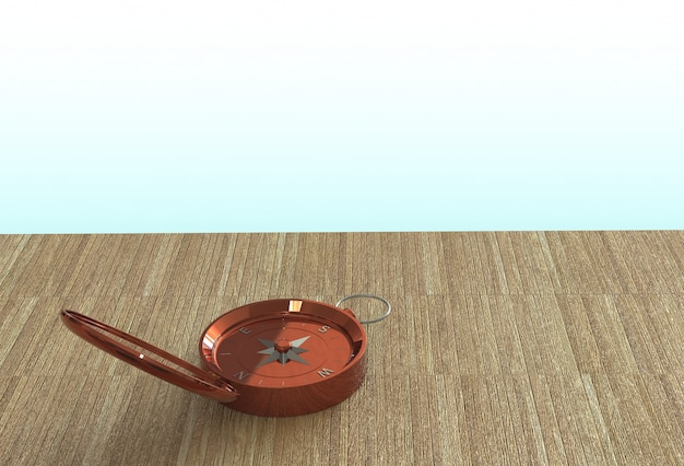 Copper compass isolated on wooden table, 3d rendering