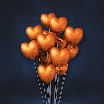 Copper heart shape balloons bunch on a black wall background. 3d illustration render