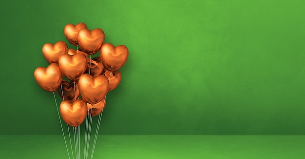 Copper heart shape balloons bunch on a green wall background. horizontal banner. 3d illustration render