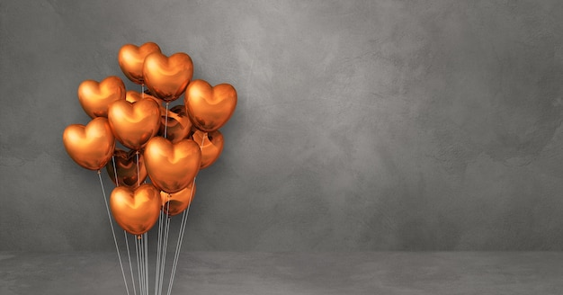 Copper heart shape balloons bunch on a grey wall background. horizontal banner. 3d illustration render