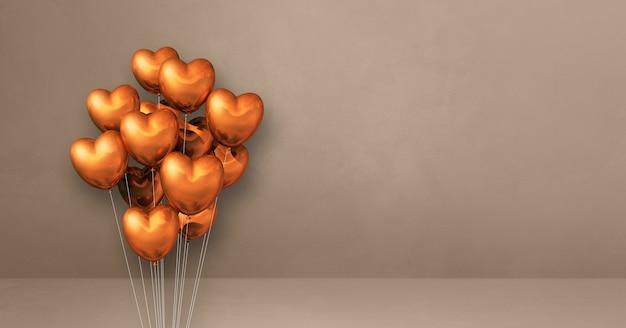 베이지색 벽 배경에 구리 심장 모양 풍선 무리. 가로 배너입니다. 3d 그림 렌더링