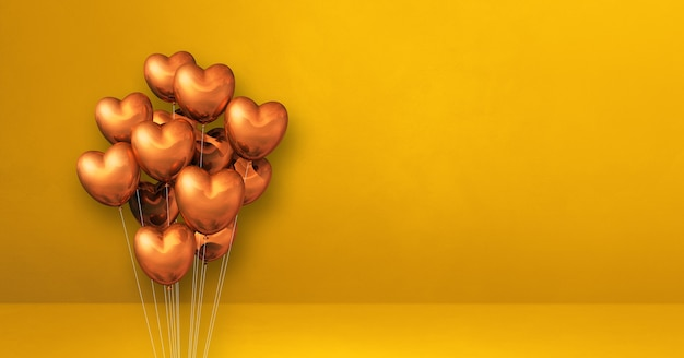 노란색 벽 배경에 구리 심장 모양 풍선 무리. 가로 배너입니다. 3d 그림 렌더링