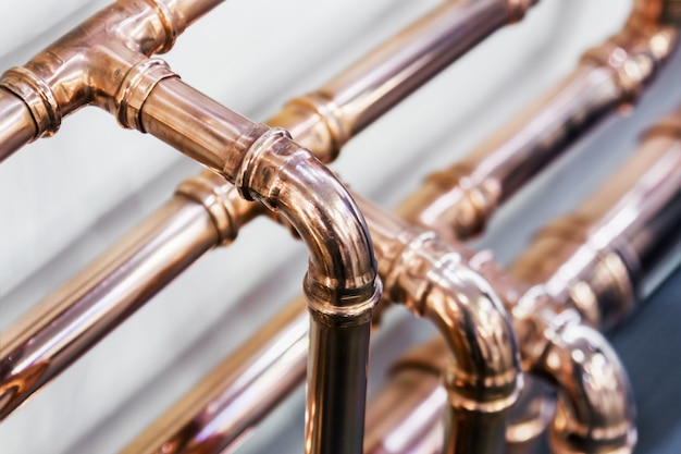 Copper pipes and fittings for carrying out plumbing work