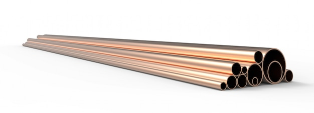 Copper pipes pattern background. 3d rendering.