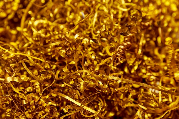 Copper shavings. copper processing on cnc machines in production.