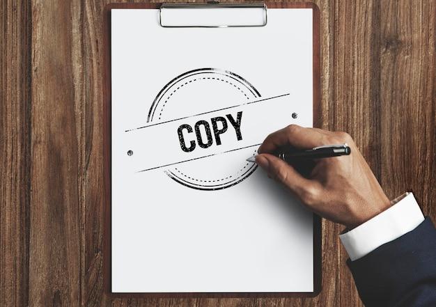 Copia duplica stampa scansione trascrizione counterfoil concept