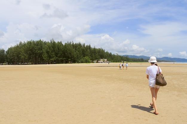 Copy foot footprints beach seashore
