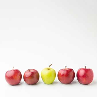 Copy-space apples aligned
