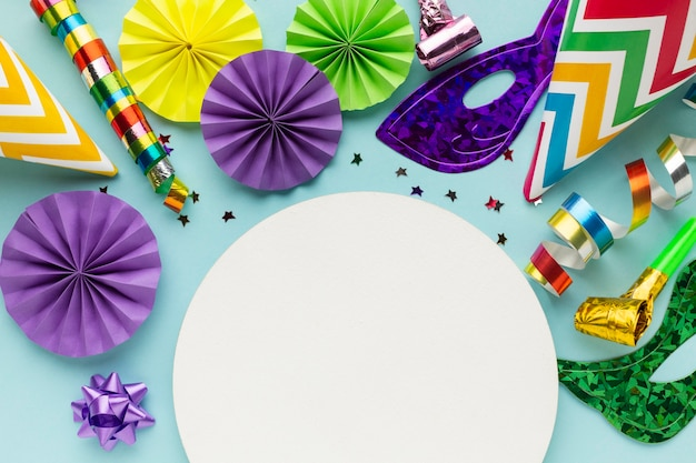 Copy space arrangement of carnival decorations